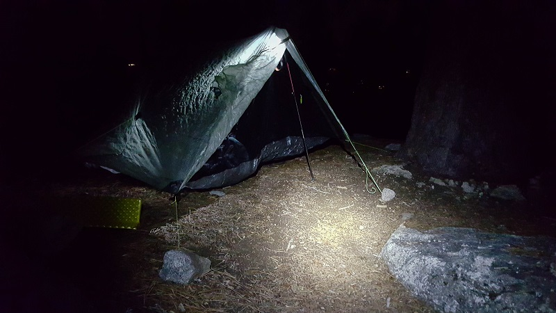 We struggled to find flat space as it got dark, and I ultimately had to pitch literally on the trail itself. It was quite cold, as we were most of the way up Mt. San Jacinto. This photo was probably taken around 9,000 ft.